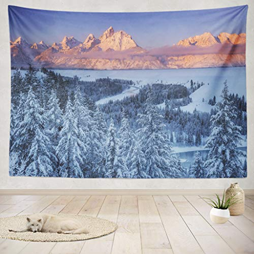 - ASOCO Tapestry Wall Handing Winter Sun Snake River National Park Winter Mountains Snow Adventure Trees Wall Tapestry for Bedroom Living Room Tablecloth Dorm 80