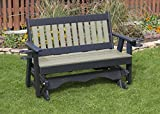 5FT-WEATHERED WOOD-POLY LUMBER Mission Porch GLIDER with Cupholder arms Heavy Duty EVERLASTING PolyTuf HDPE - MADE IN USA - AMISH CRAFTED