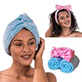 2Pack Microfiber Hair Towel Wrap, Ultra Absorbent and Anti Frizz for Quick Hair Drying for Women with Curly or Long Hair