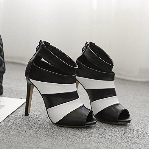 Aisun Damen Kunstleder Kontrastfarbe Peep Toe Stiletto Sommerstiefel mit Reißverschluss Schwarz