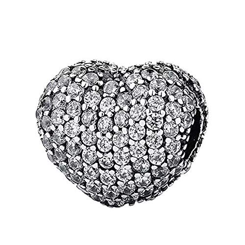Heart Clip Charm 925 Sterling Silver Spacer Beads fit for Fashion Charms Bracelets (Sparkling Clip)