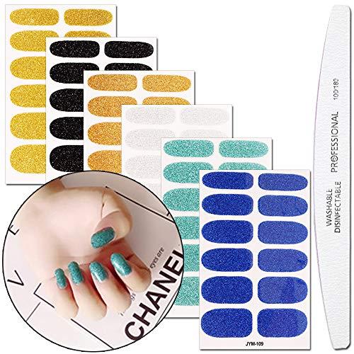 WOKOTO 6 Sheets Glitter Nail Polish Wraps Stickers Tips Adhesive Nail Art Decal Strips Manicure Set With 1Pcs Nail File