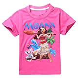 AOVCLKID Moana Little Girl's Cartoon T-Shirt (90/1-2Y, Rose 2)