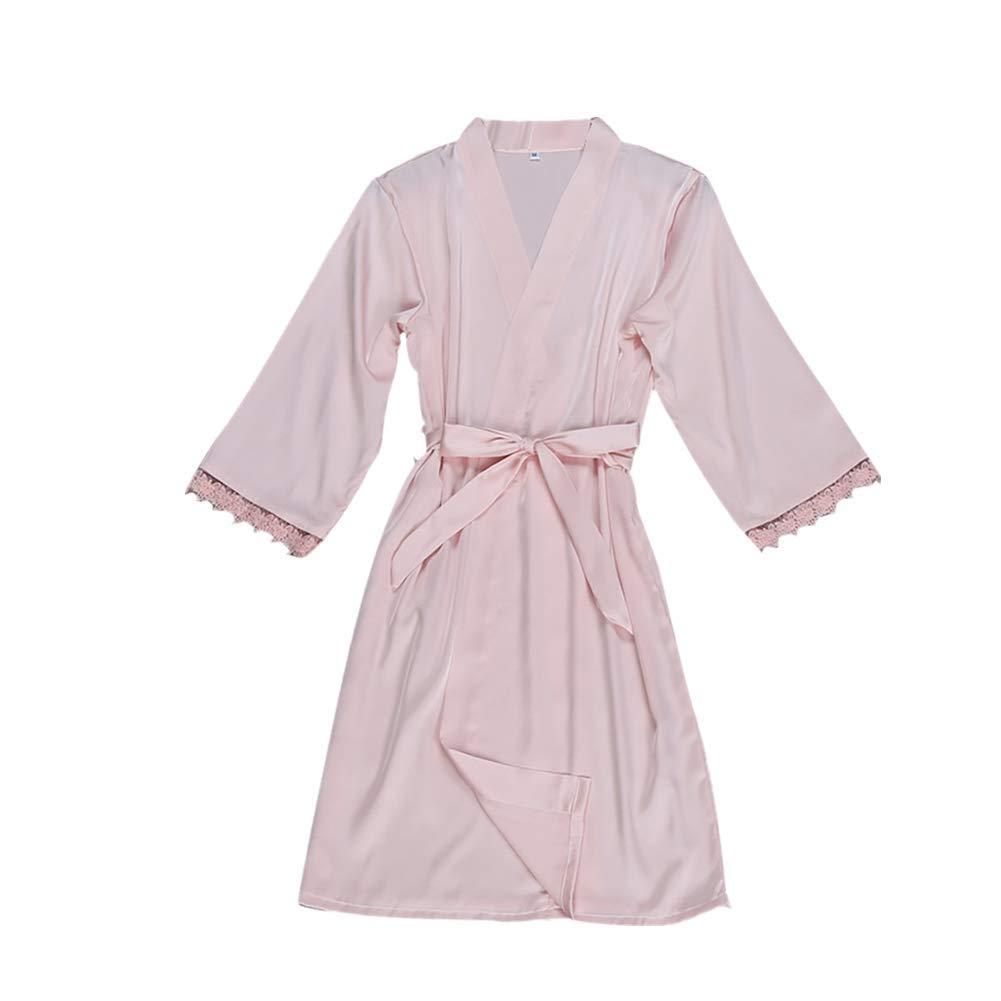 Womens Underwear,Kirbyates Sexy Lingerie Silk Sleepwear Long Sleeve Rompers Babydoll Sheer Lace Up Nightgown Bath Robe Pink