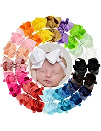 6 inches Grosgrain Ribbon Hair Bows Headbands for Baby...