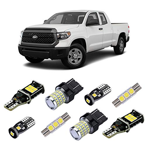 iBrightstar 2014+ Toyota Tundra Super Bright Canbus LED Bulbs Package Kit replacement for Interior Lights + License Plate Lights + Cargo Lights + Back Up Reverse Lights, Xenon White ()