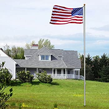 zeny 20ft aluminum flag pole free us flag u0026 ball top kit