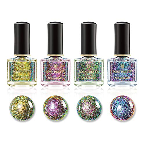 Natural Irridescent - Born Pretty Nail Art Chameleon Cat Eye Nail Polish 4pcs Set 3D Magnetic Color Changing 6ml Manicure Kits Black Base Needed (Peacock Holographic Polish Set 1)