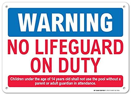 8e010f683fa7 Warning No Lifeguard On Duty Sign - Pool Safety Rules - 10