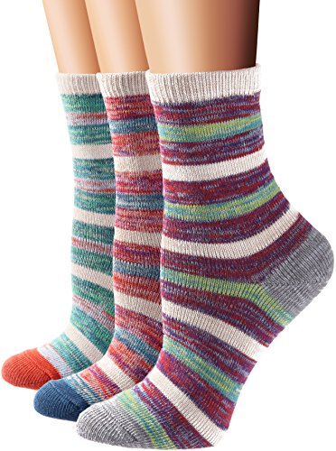 Flora&Fred Women's 3 Pair Pack Vintage Style Gradient Stripe Cotton Crew Socks Large,Shoe: 8-11,Gradient Stripe (Socks Cotton Stripe)