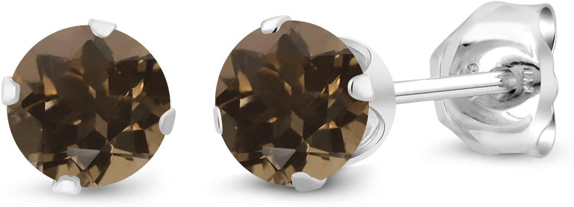 Choose Your Size 10K White Gold Round Genuine Smokey Quartz Stud Earrings