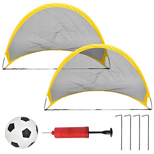 (Euone  Football Toys, 2PC Set Mini Outdoor Deluxe Folding Kids Children's Soccer Pop Up Football Goals Gifts)