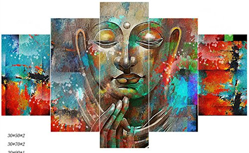 [LARGE] Premium Quality Canvas Printed Wall Art Poster 5 Pieces / 5 Pannel Wall Decor Buddha Quadro Unique Painting, Home Decor Pictures - With Wooden - Unique Frames Wooden