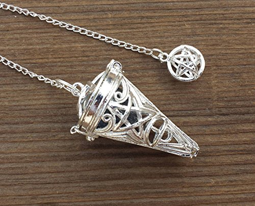 [A&S Crystals] PENTACLE CAGE PENDULUM with Black Tourmaline Piece ()