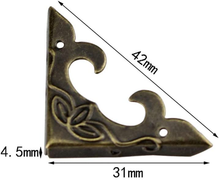 Brass Antique Appearence Corner Protector Metal to Protect The Wooden Box Table Corner Decorative 20PCS Box Corner Protector,Vintage