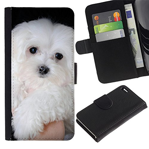 Be Good Phone Accessory // Flip Étui de Protection Cuir Portefeuille Housse Fente Carte Coque pour Apple Iphone 4 / 4S // Maltese Dog White Small Longhair