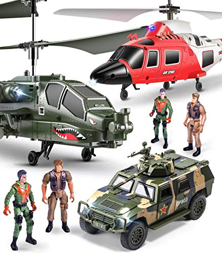 Helicopter Set Toys,SYMA S200 2pcs RC Military Medical Aircraft Toys with a Tank,4 Soldiers for Kids to Play Indoor to Action Packed Pretend Play as Gift