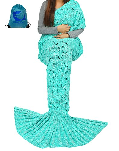 Junpro Mermaid Tail Blanket for Adult Kids Soft Hand Crochet Sleeping Bag for Girls Women in Sofa Bed Living Room (Adult, Scale -