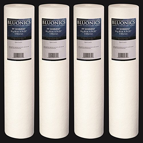 BLUONICS Big Blue Sediment Replacement Water Filters 4pcs (5 Micron) 4.5' x 20' Whole House Cartridges for Rust, Iron, Sand, Dirt, Sediment and Undissolved Particles