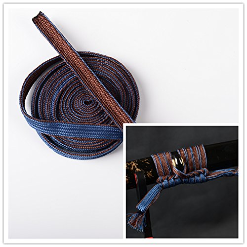 Synthetic Silk Leather Ito Wrapping Cord Sageo For Japanese Samurai Swords Handle Saya (Coffee-Blue Synthetic Silk Sageo (Tsuka Handle)