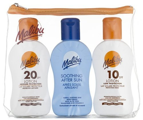Malibu Sun Protection Travel Size Tanning Pack 1 x SPF 20 1 x SPF 10 Sun Tan Lotion & 1 x After Sun Aloe Vera Lotion Kit by...