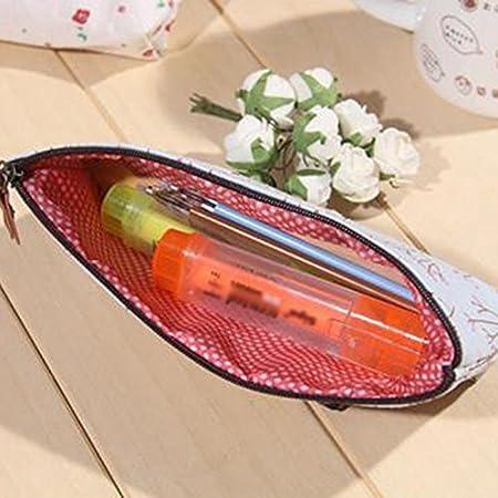 Artiliy Estuche de lona para l/ápices con cremallera tama/ño grande ideal para ni/ños y ni/ñas color Baun 19.5 * 8 * 4cm