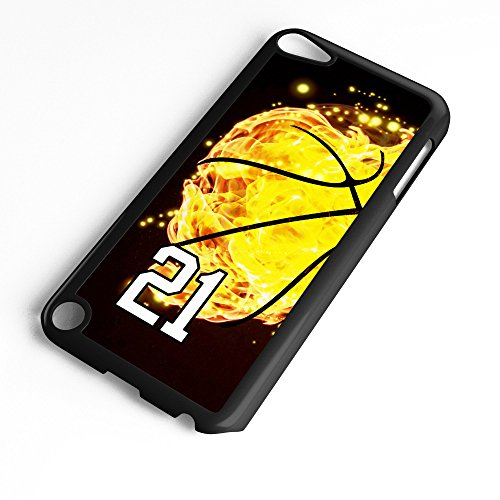 iPod Touch Case Fits 6th Generation or 5th Generation Basketball #8000 Choose Any Player Jersey Number 21 in Black Plastic Customizable by TYD Designs