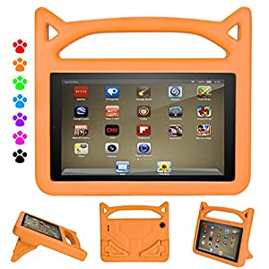 Case for All-Dinines New A m a z o n F i r e 7 Tablet (7th Generation,2017 Release) -Anti Slip Shockproof Light Weight Kids Friendly Protective Case for F i r e 7(5th Gen, 2015) (Orange)