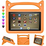 "Kindle Fire HD 8 Kids Case, Roasan Super Protection Light Weight Handle Shockproof Screen Protector for Amazon Fire HD 8 (7th 2017/6th 2016) 8"" Tablet (Fire HD 8, Orange)"