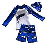Baby Boys Long Sleeve Bathing Suits Two Piece Rash Guard Swimsuits Blue Color with Shark Pattern Swimwear (M/4-5T)