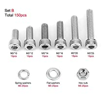 150Pcs M5 Stainless Steel Hex Socket Head Cap Bolts Screws Nuts Washers Assortment Kit
