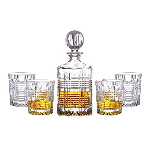 Fitz and Floyd 306050-5BB Portland 5 Piece Decanter & Old Fashion Glassware Set, 4x10