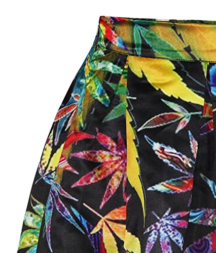 Flared Waistband ZIOOER Elastic Casual Women's Pleated Print Digital Colorful Leafs Skirt rEECXqF