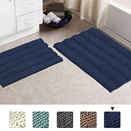 20x32 Inch /& 17x24 Inch,Dove Gray Bath Rugs for Bathroom Rugs and Mats Sets 2 Piece Bath Mat Set Extra Thick Tub Mat Striped Rugs Runners Non Slip Chenille Rug Water Absorbent Mat for Kitchen