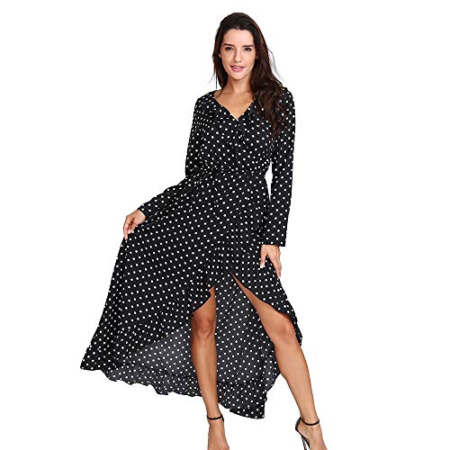 DEATU Hot Sale! Women Dress Ladies Casual Sexy Boho Printing Chiffon Long Sleeve V-Neck Dress Long Maxi Dress(Black,M)