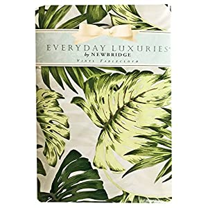 Tropical Palm Tree Leaf Print Vinyl Flannel Backed Tablecloth, Indoor/Outdoor Tablecloth for Picnic, Barbeque, Patio and Kitchen Dining, (60 Inch x 84 Inch Oblong/Rectangle)