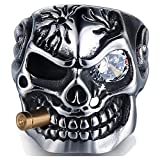 Jude Jewelers Vintage Stainless Steel Gothic Skull Smoking Bullet Biker Cocktail Party Ring (Clear Stone, 8)