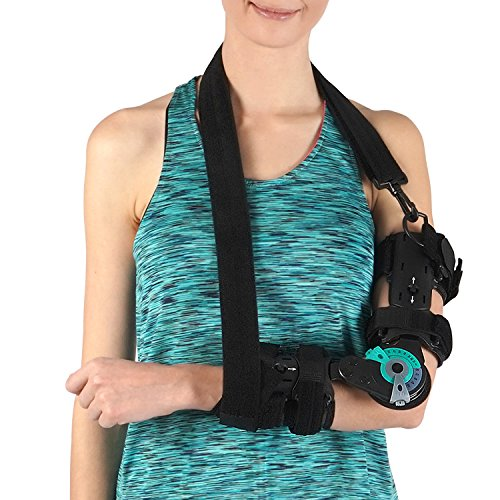 (Soles Hinged Elbow Brace (Left Arm) | Support Post Op Injury Recovery, ROM Orthosis | Adjustable Range of Motion | One Size Fits All | Unisex)