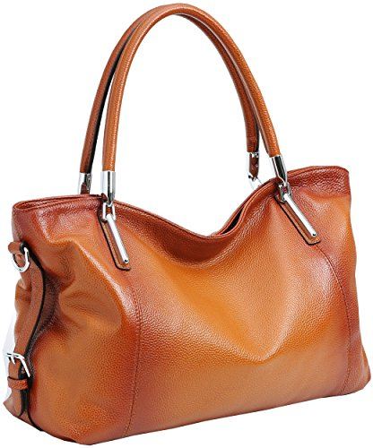 On Clearance! Big Sale! Iswee Women's Genuine Leather Handbag Urban Style Tote Top Handle Shoulder Bag Vintage Satchel Purse (Sorrel-12) ()