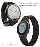 Pebble Time Round, Moto 360 (42mm) 20mm Metal Watch Band, Truffol Strap Quick Release Stainless Steel (Free Tools) (Black)