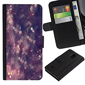 Billetera de Cuero Caso Titular de la tarjeta Carcasa Funda para Samsung Galaxy S5 Mini, SM-G800, NOT S5 REGULAR! / Glitter Bling Bling Purple Crystal / STRONG