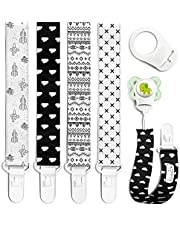 Pacifier Clips - 4 Pack Set of Unique Modern Design in Black and White. Binky Clip Fits All Pacifiers, Soothers. Unisex for Boys and Girls Teether Holder Baby Shower Registry