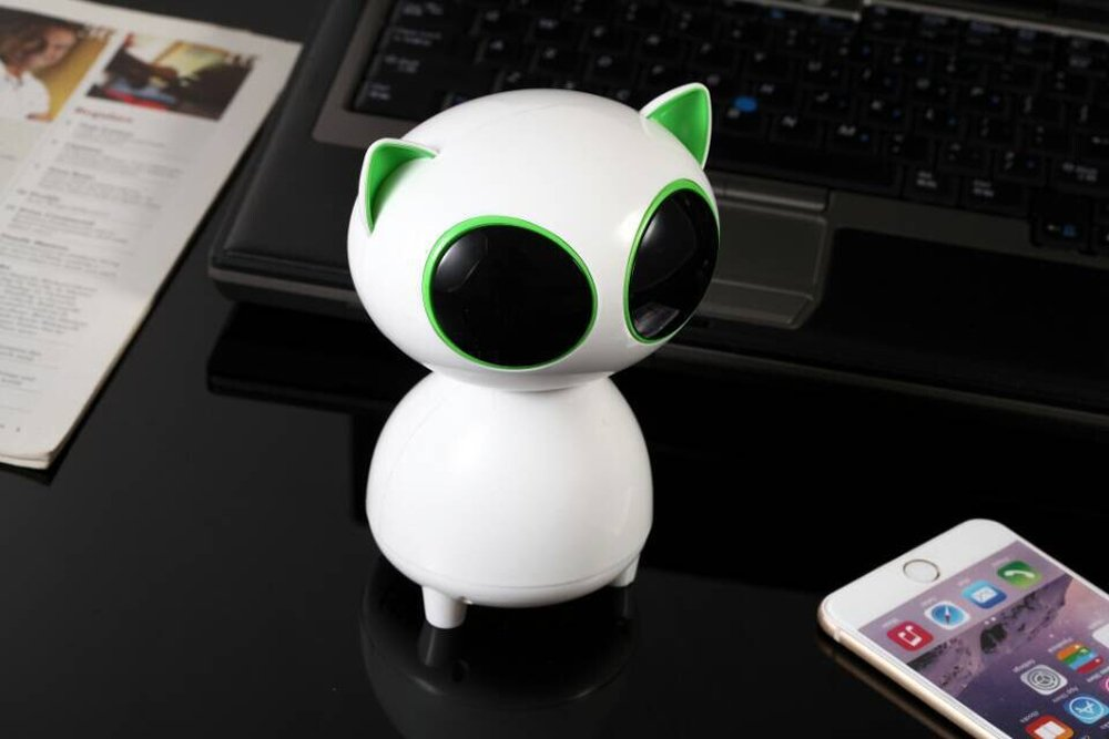 Cat USB Speaker- Wired Speaker 2.0 Channel Small Computer Desktop phone Speaker for PC, Echo Dot, Updated Version- WEIYATS (green) by WEIYATS (Image #5)