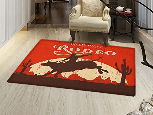 smallbeefly Vintage Door Mats for inside Rodeo Cowboy Riding Bull Wooden Old Sign Western Wilderness at Sunset Image Bath Mat for tub Bathroom Mat Redwood Orange