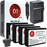 DOT-01 4x Brand Canon EOS Rebel T7 Batteries and Charger for Canon EOS Rebel T7 DSLR and Canon T7 Battery and Charger Bundle for Canon LPE10 LP-E10