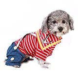 Cheap NACOCO Cute Nautical Dog Clothes,t Shirt and Jeans, Red/white Stripes Demin,spring/summer (XL)