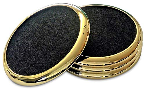 COMFORTENA Regal Drink Coasters with Absorbent Felt Inserts | Unique Table Coaster Set with Silicone Tray and Metal Ring Accent | Perfect for Hot and Cool Beverages in Glasses, Cups, and Mugs | Gold ()