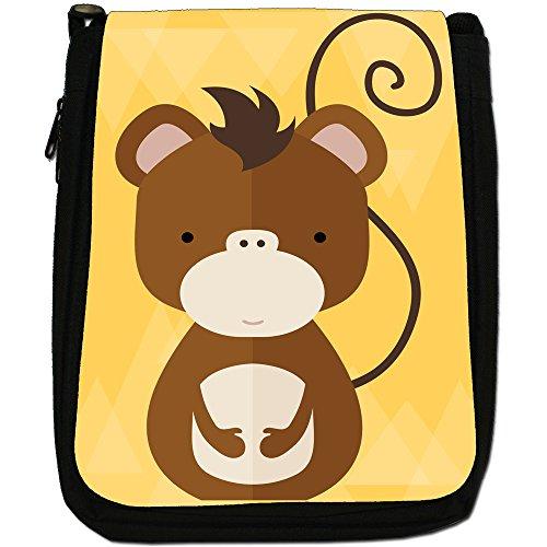 Nero Animali M Cheeky Monkey Tela Borsa Moderno Medium Geometrico Taglia In qfnwFpwP