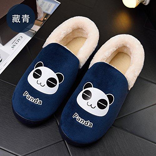 Y-Hui autunno e inverno le coppie Home uomini pantofole di cotone Sacco e fondo spesso antislittamento pantofole termica femmina, 36-37 [per 34-35 piedi indossare],Marina (a)