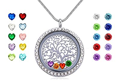 Family Tree of Life Floating Charms Memory Locket, Diy Stainless Steel Pendant Necklace with Birthstones